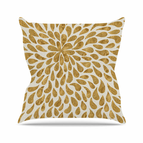"888 Design ""Abstract Golden Flower"" Gold Tan Throw Pillow"