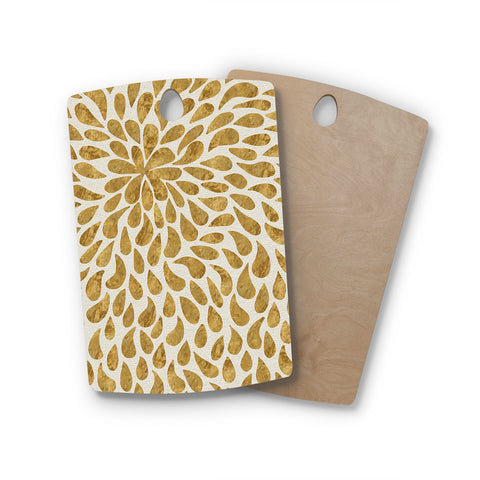 "888 Design ""Abstract Golden Flower"" Rectangle Wooden Cutting Board"