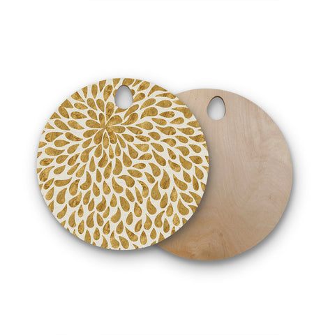 "888 Design ""Abstract Golden Flower"" Round Wooden Cutting Board"