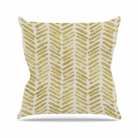 "888 Design ""Golden Vision"" Yellow White Throw Pillow - KESS InHouse  - 1"