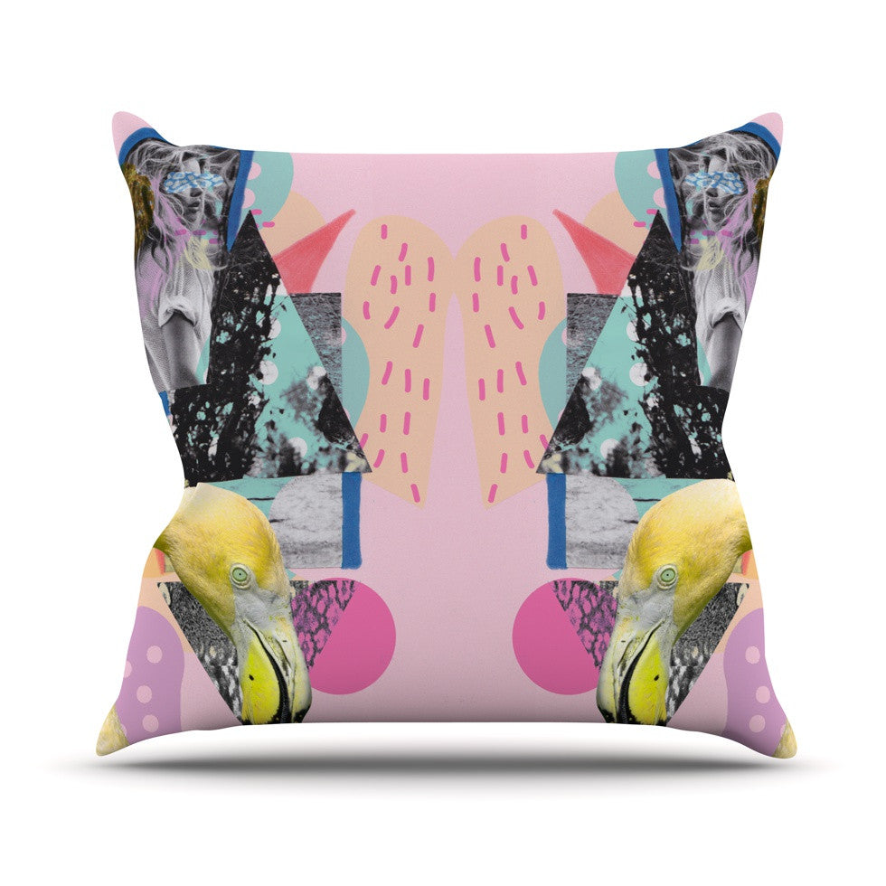 "Vasare Nar ""Flamingo Tropical"" Throw Pillow - KESS InHouse  - 1"