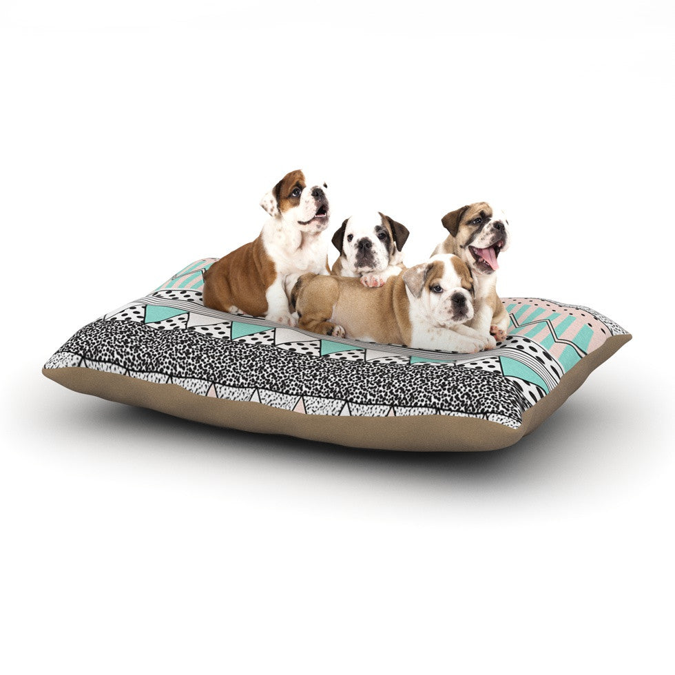 "Vasare Nar ""Chevron Motif"" Pink Teal Dog Bed - KESS InHouse  - 1"