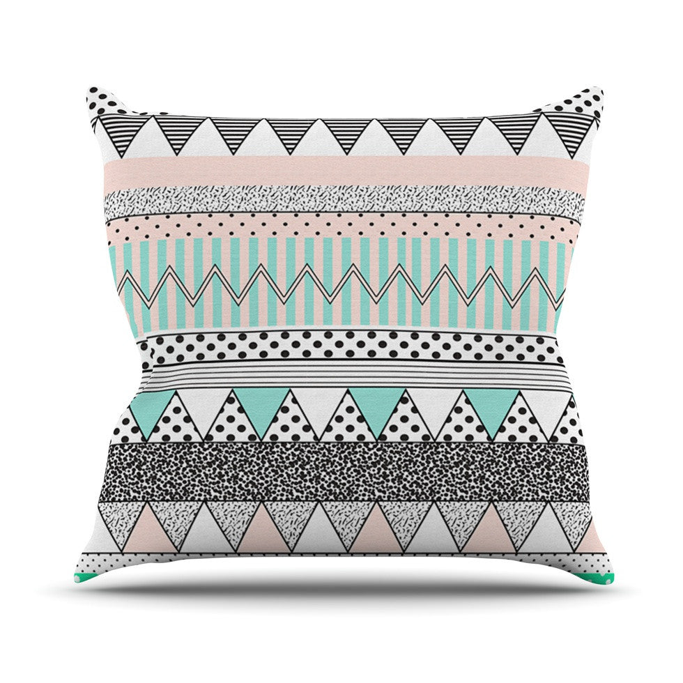 "Vasare Nar ""Chevron Motif"" Pink Teal Throw Pillow - KESS InHouse  - 1"