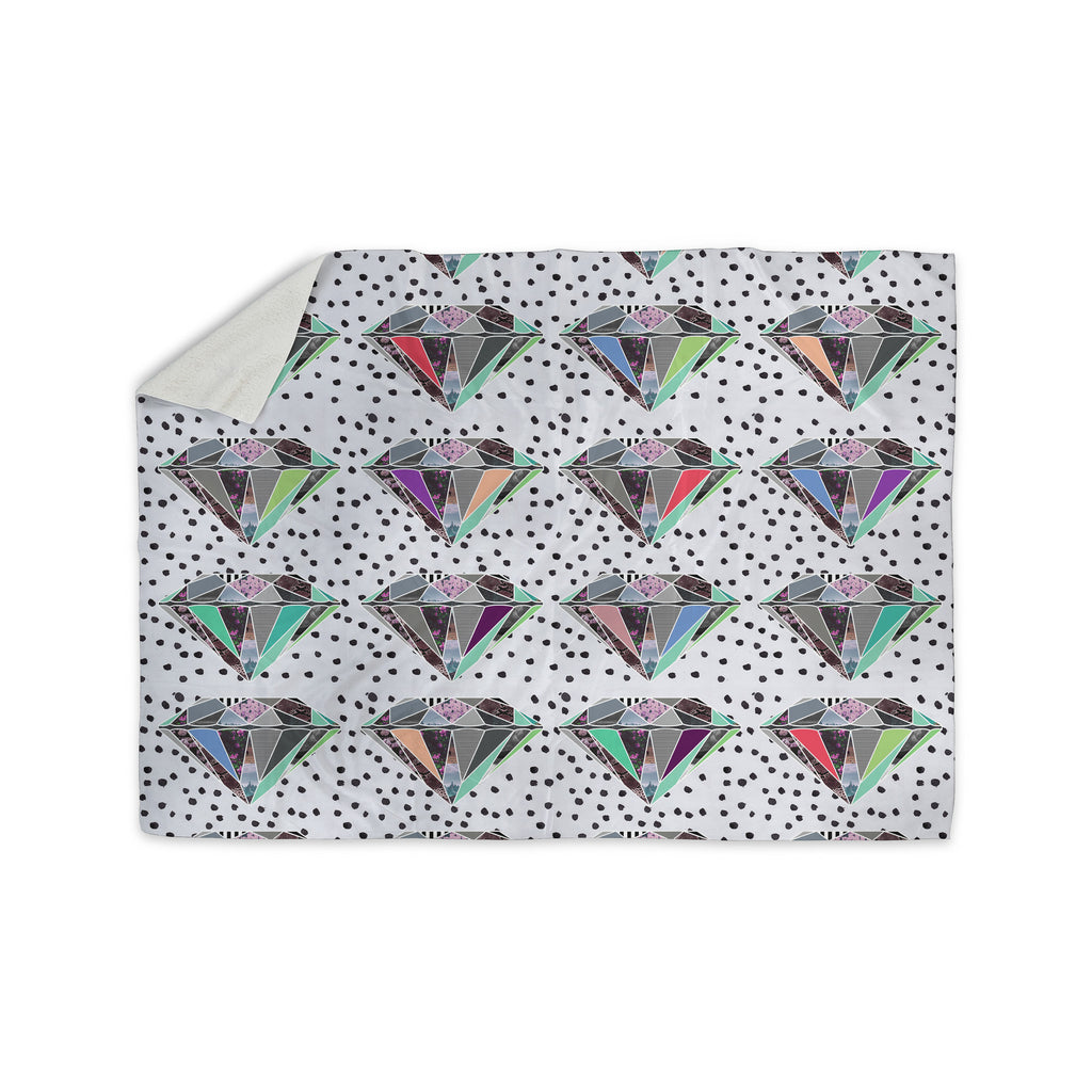 "Vasare Nar ""Polka Dot Diamonds"" White Rainbow Sherpa Blanket - KESS InHouse  - 1"