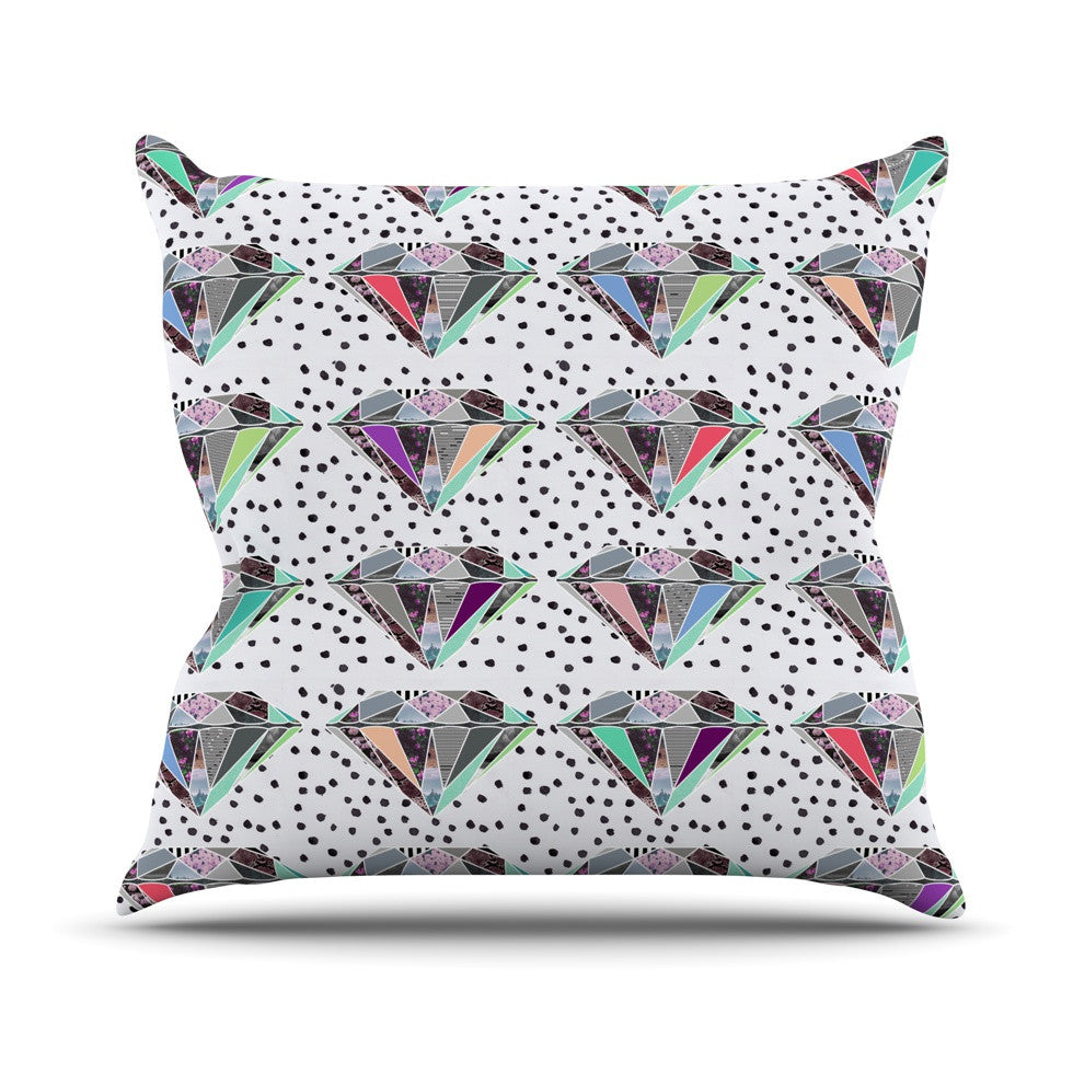 "Vasare Nar ""Polka Dot Diamonds"" White Rainbow Outdoor Throw Pillow - KESS InHouse  - 1"