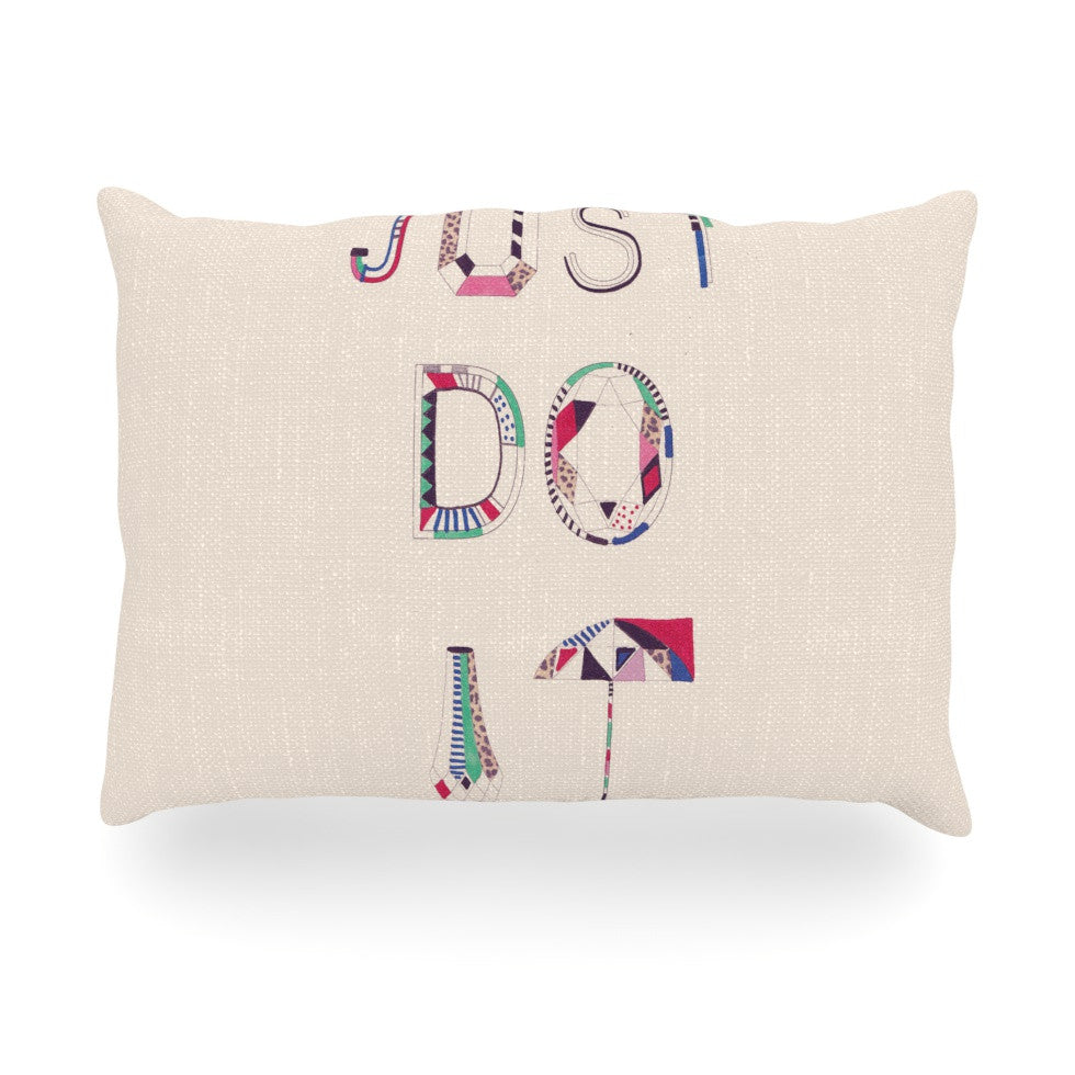 "Vasare Nar ""Just Do It"" Tan Rainbow Oblong Pillow - KESS InHouse"