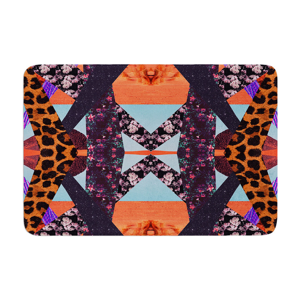 "Vasare Nar ""Pillow Kaleidoscope "" Purple Orange Memory Foam Bath Mat - KESS InHouse"
