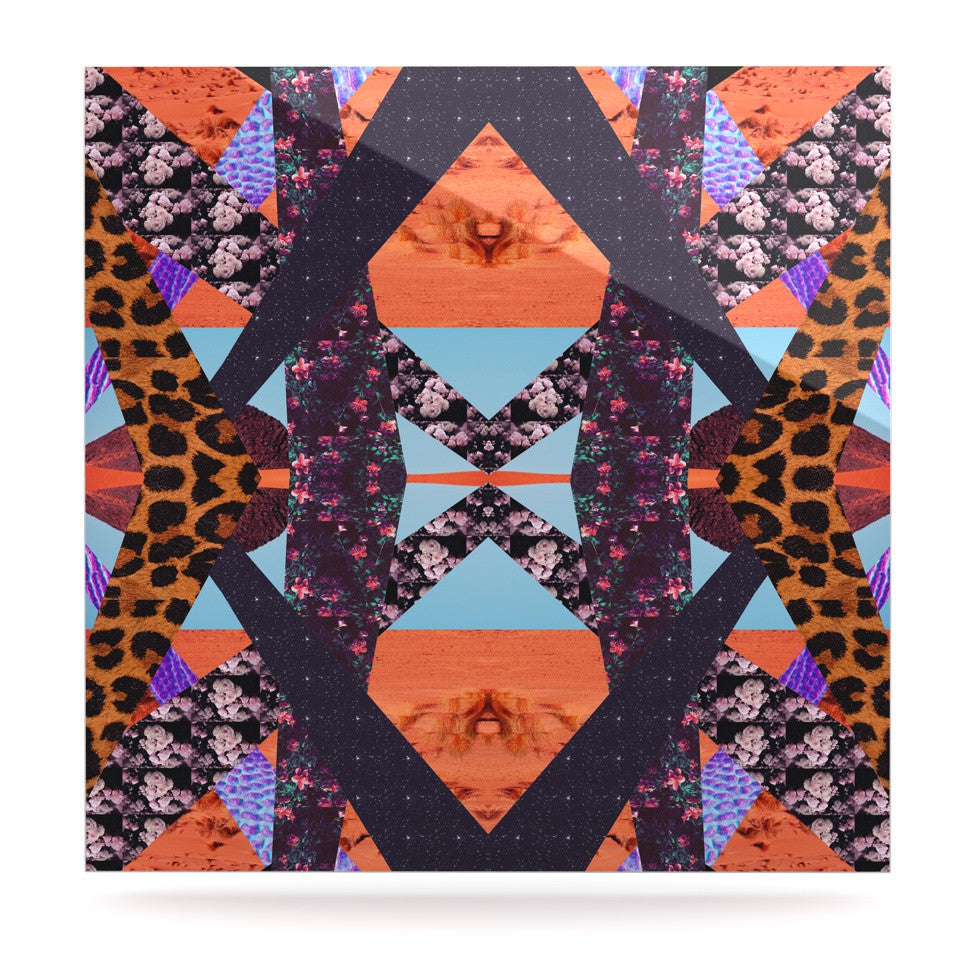 "Vasare Nar ""Pillow Kaleidoscope "" Purple Orange Luxe Square Panel - KESS InHouse  - 1"