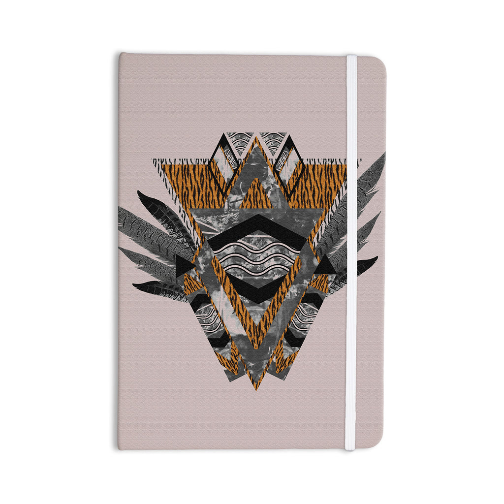 "Vasare Nar ""Indian Feather"" Orange Gray Everything Notebook - KESS InHouse  - 1"