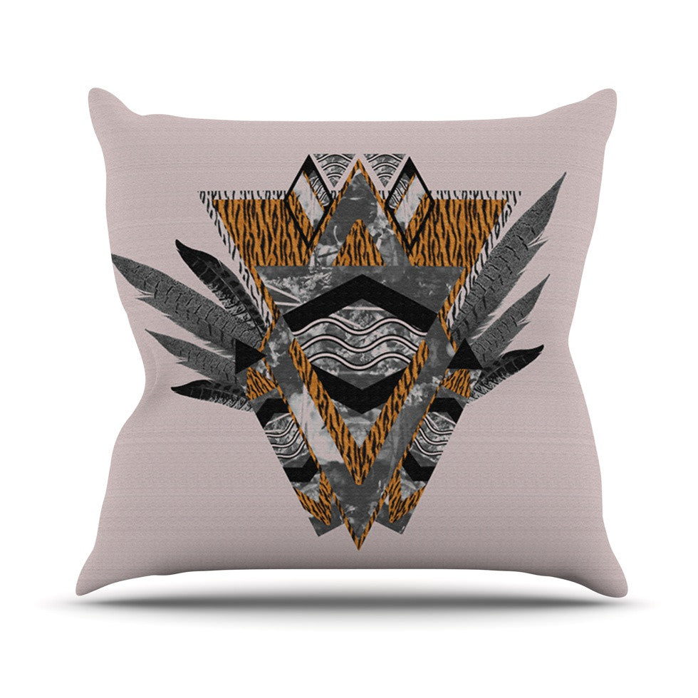 "Vasare Nar ""Indian Feather"" Orange Gray Throw Pillow - KESS InHouse  - 1"