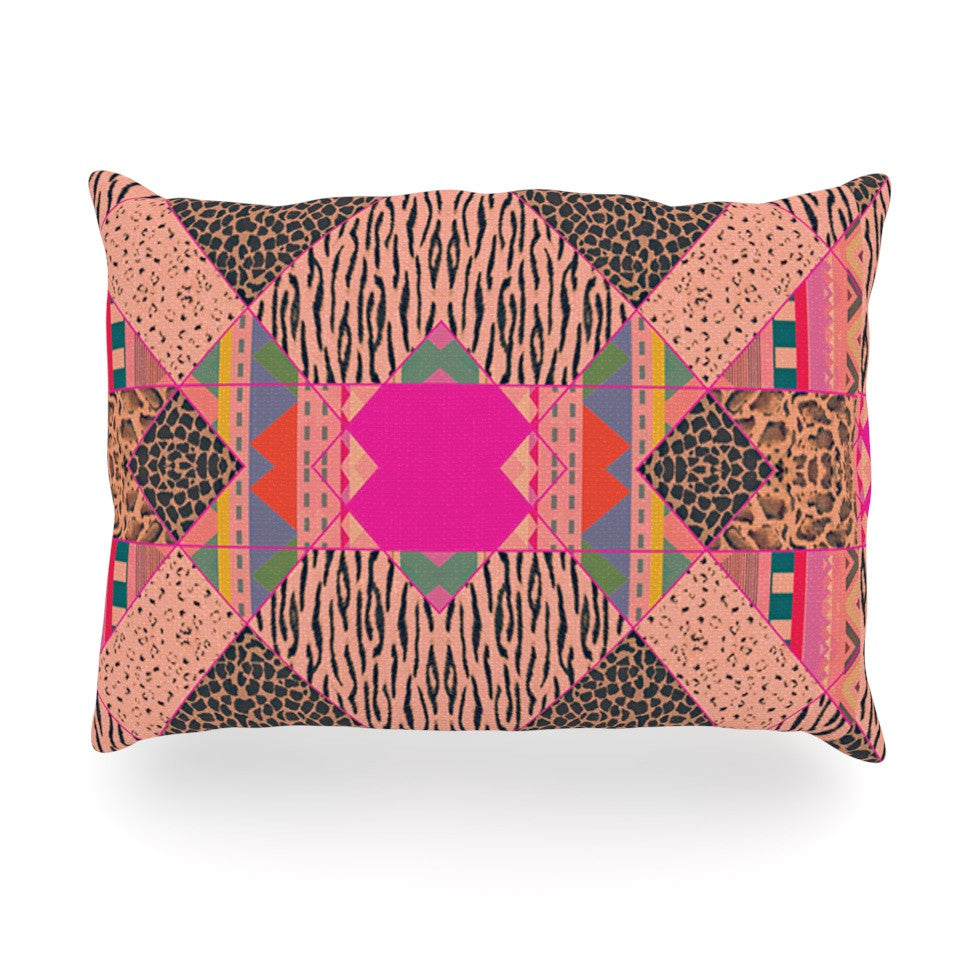 "Vasare Nar ""New Wave Zebra"" Pattern Pink Oblong Pillow - KESS InHouse"