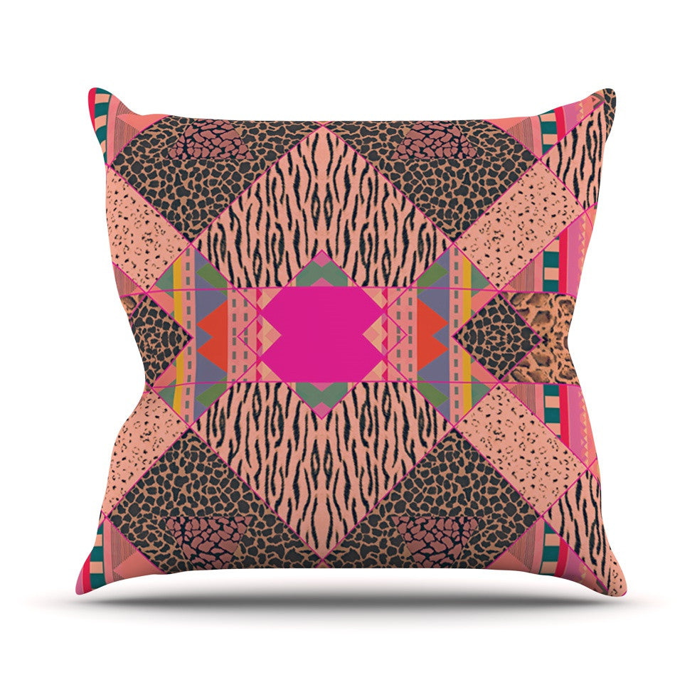 "Vasare Nar ""New Wave Zebra"" Pattern Pink Throw Pillow - KESS InHouse  - 1"