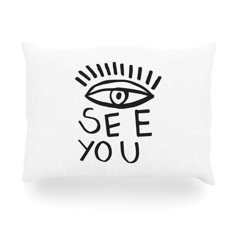 "Vasare Nar ""Eye See You"" White Oblong Pillow - KESS InHouse"