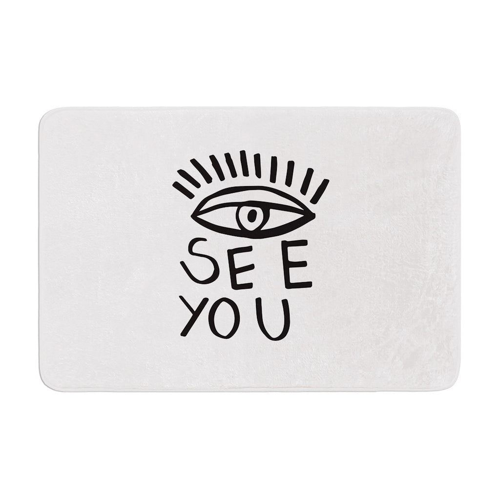 "Vasare Nar ""Eye See You"" White Memory Foam Bath Mat - KESS InHouse"