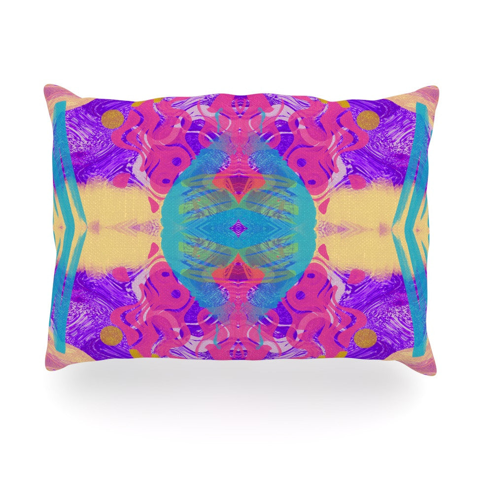 "Vasare Nar ""Glitch Kaleidoscope"" Pink Purple Oblong Pillow - KESS InHouse"