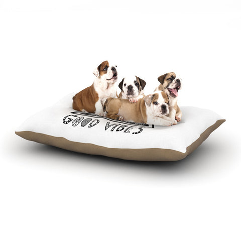 "Vasare Nar ""Good Vibes"" White Black Dog Bed - KESS InHouse  - 1"