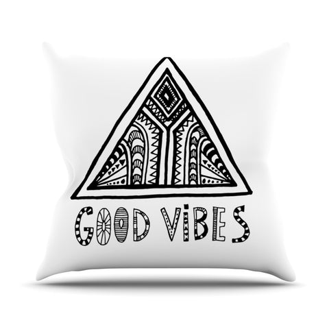 "Vasare Nar ""Good Vibes"" White Black Outdoor Throw Pillow - KESS InHouse  - 1"