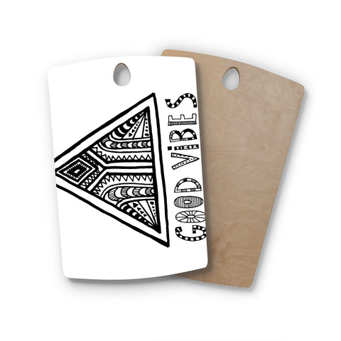 "Vasare Nar ""Good Vibes"" White Black Rectangle Wooden Cutting Board"