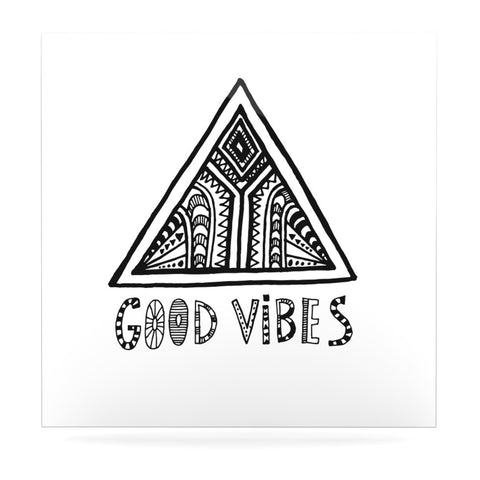 "Vasare Nar ""Good Vibes"" White Black Luxe Square Panel - KESS InHouse  - 1"