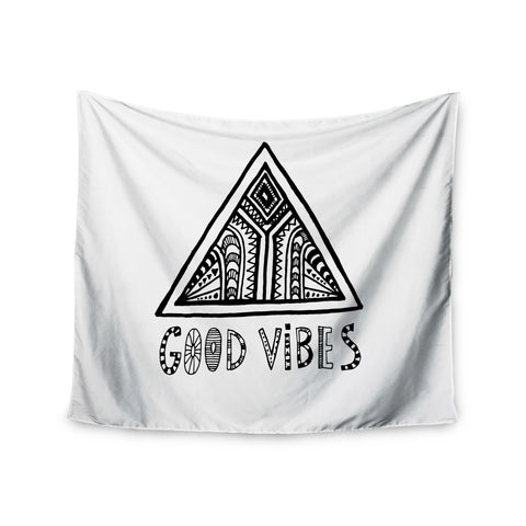 "Vasare Nar ""Good Vibes"" White Black Wall Tapestry - KESS InHouse  - 1"