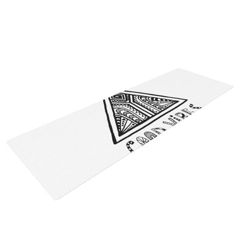 "Vasare Nar ""Good Vibes"" White Black Yoga Mat - KESS InHouse"
