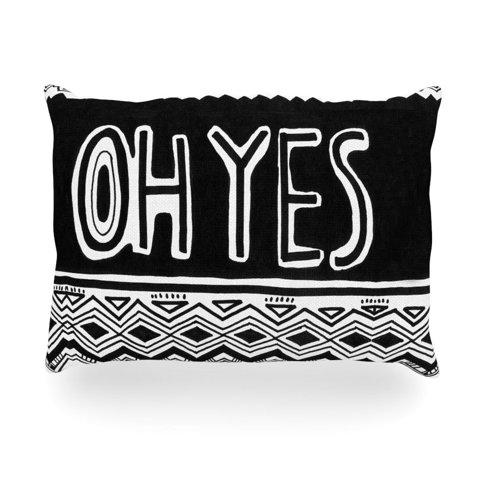 "Vasare Nar ""Oh Yes"" Black White Oblong Pillow - KESS InHouse"