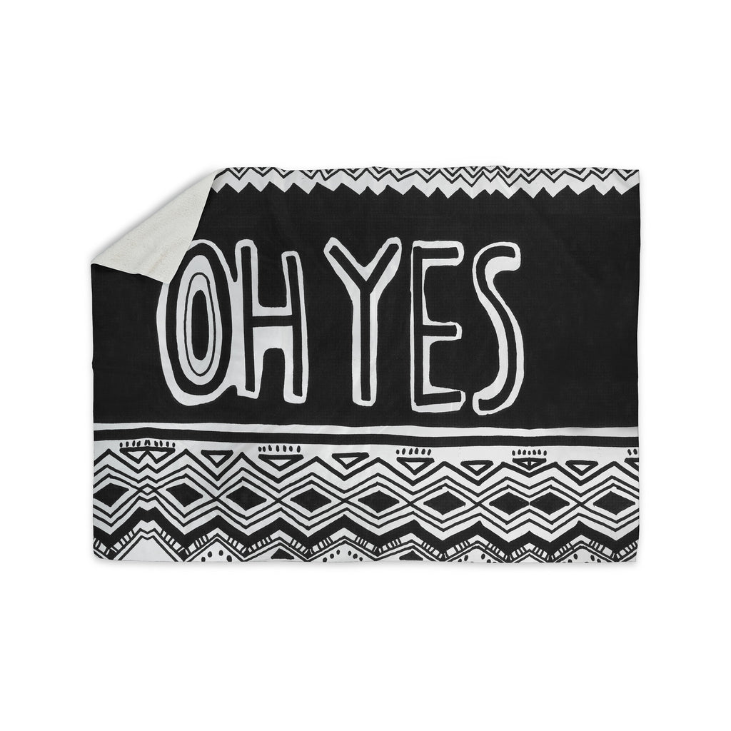"Vasare Nar ""Oh Yes"" Black White Sherpa Blanket - KESS InHouse  - 1"