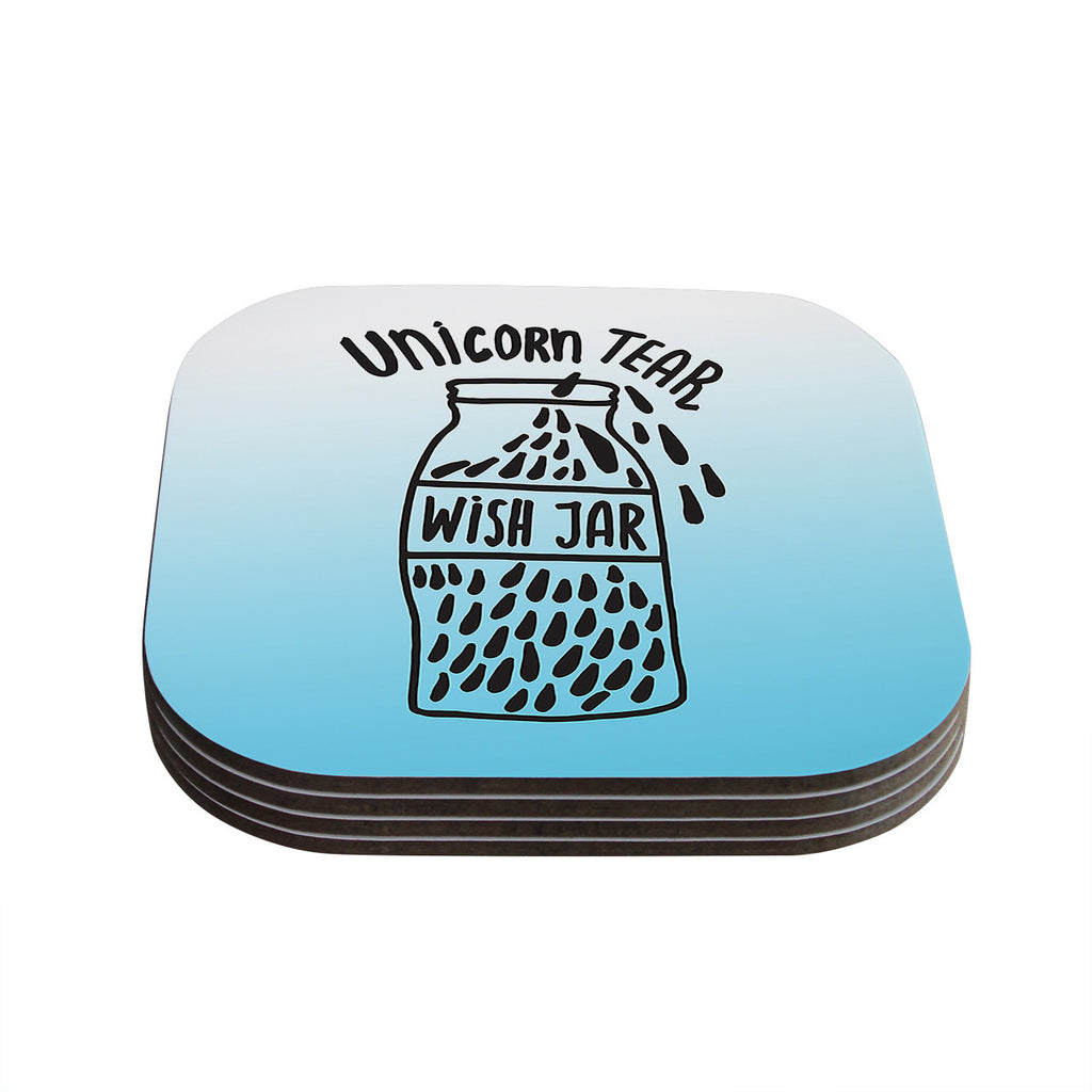 "Vasare Nar ""Unicorn Wish Jar"" Blue Black Coasters (Set of 4)"