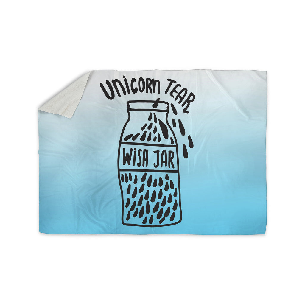 "Vasare Nar ""Unicorn Wish Jar"" Blue Black Sherpa Blanket - KESS InHouse  - 1"