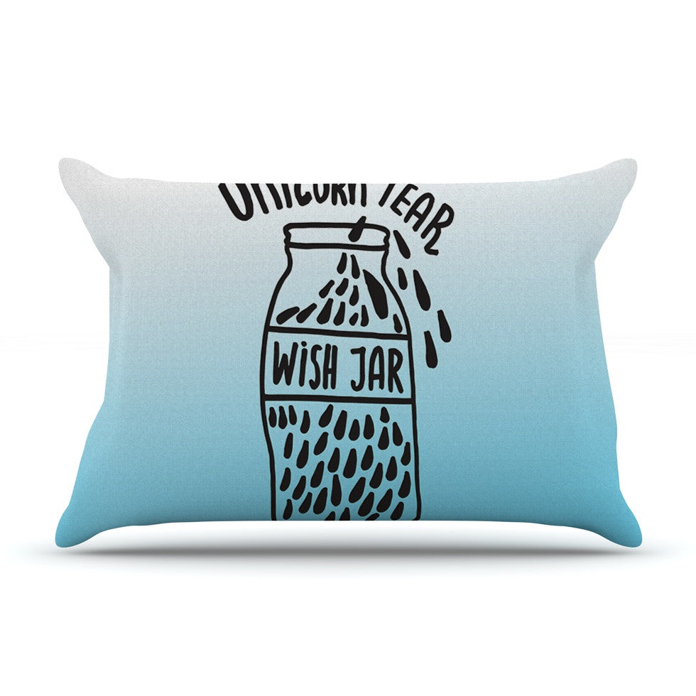 "Vasare Nar ""Unicorn Wish Jar"" Blue Black Pillow Sham - KESS InHouse"