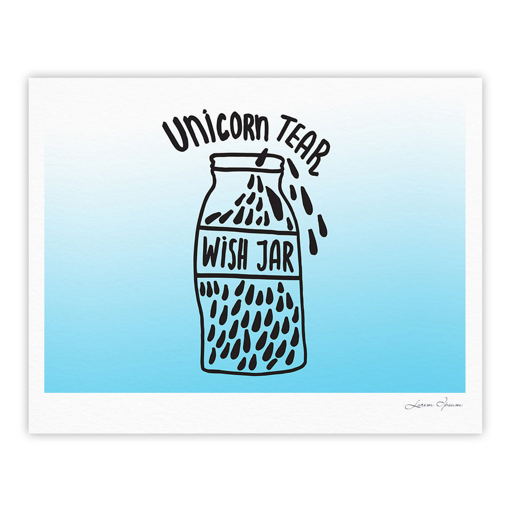 "Vasare Nar ""Unicorn Wish Jar"" Blue Black Fine Art Gallery Print - KESS InHouse"