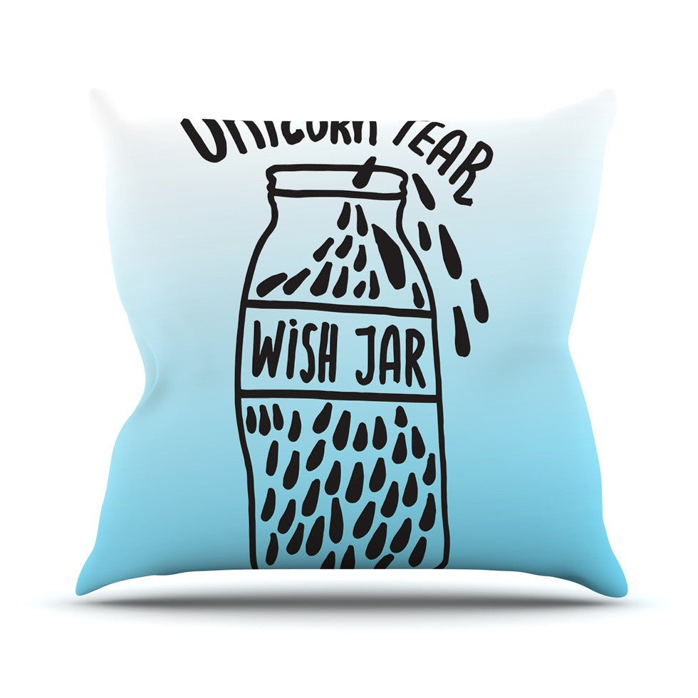 "Vasare Nar ""Unicorn Wish Jar"" Blue Black Throw Pillow - KESS InHouse  - 1"