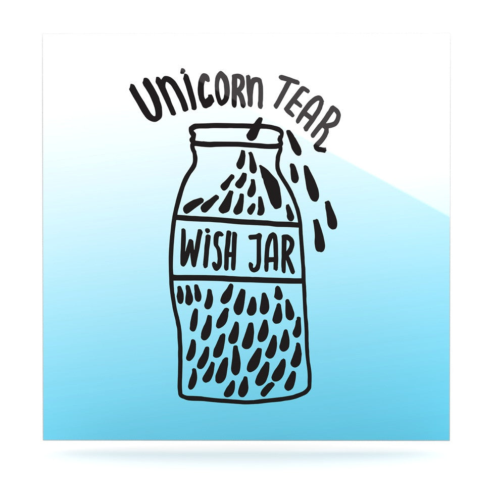 "Vasare Nar ""Unicorn Wish Jar"" Blue Black Luxe Square Panel - KESS InHouse  - 1"