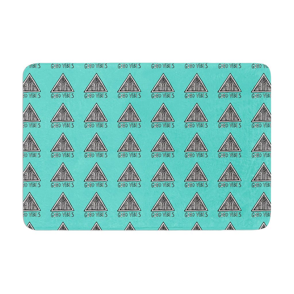 "Vasare Nar ""Good Vibes Green"" Teal Memory Foam Bath Mat - KESS InHouse"