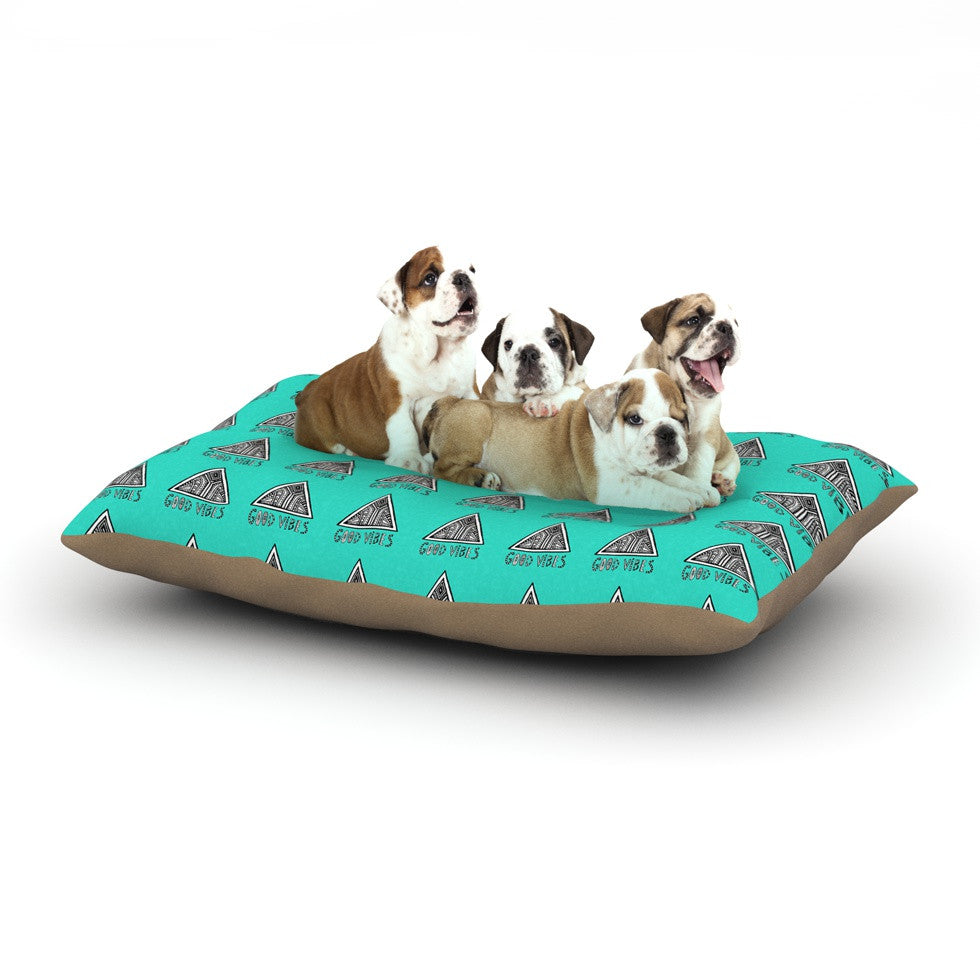 "Vasare Nar ""Good Vibes Green"" Teal Dog Bed - KESS InHouse  - 1"