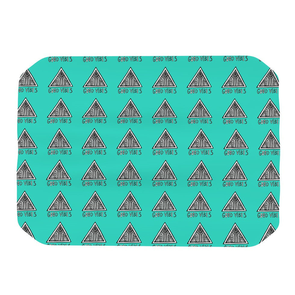 "Vasare Nar ""Good Vibes Green"" Teal Place Mat - KESS InHouse"