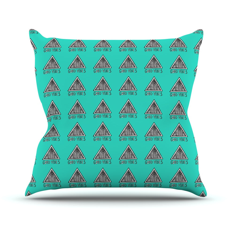 "Vasare Nar ""Good Vibes Green"" Teal Throw Pillow - KESS InHouse  - 1"