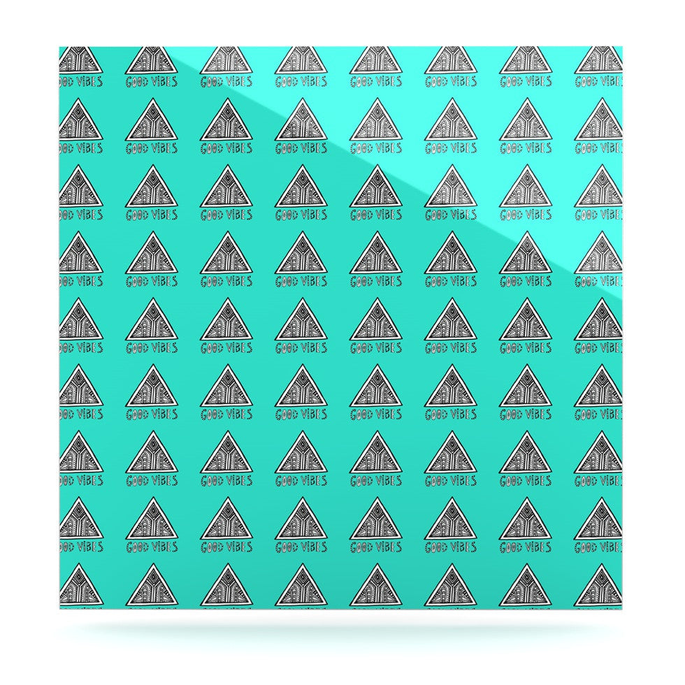 "Vasare Nar ""Good Vibes Green"" Teal Luxe Square Panel - KESS InHouse  - 1"