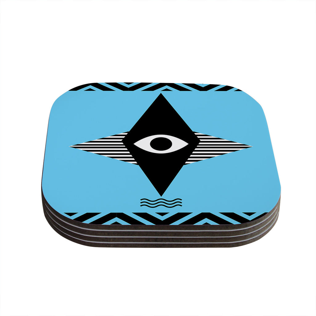 "Vasare Nar ""Eye Graphic"" Blue Black Coasters (Set of 4)"