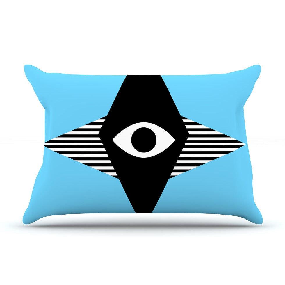 "Vasare Nar ""Eye Graphic"" Blue Black Pillow Sham - KESS InHouse"