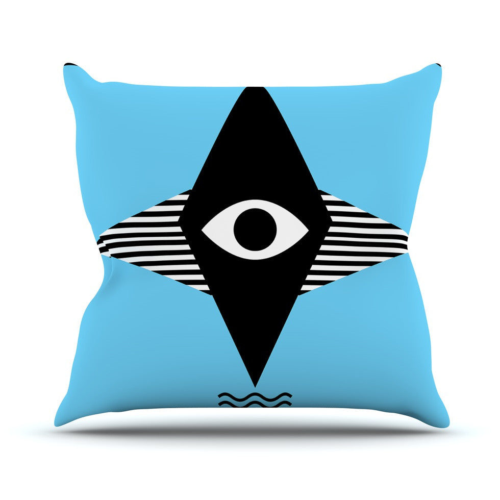 "Vasare Nar ""Eye Graphic"" Blue Black Throw Pillow - KESS InHouse  - 1"