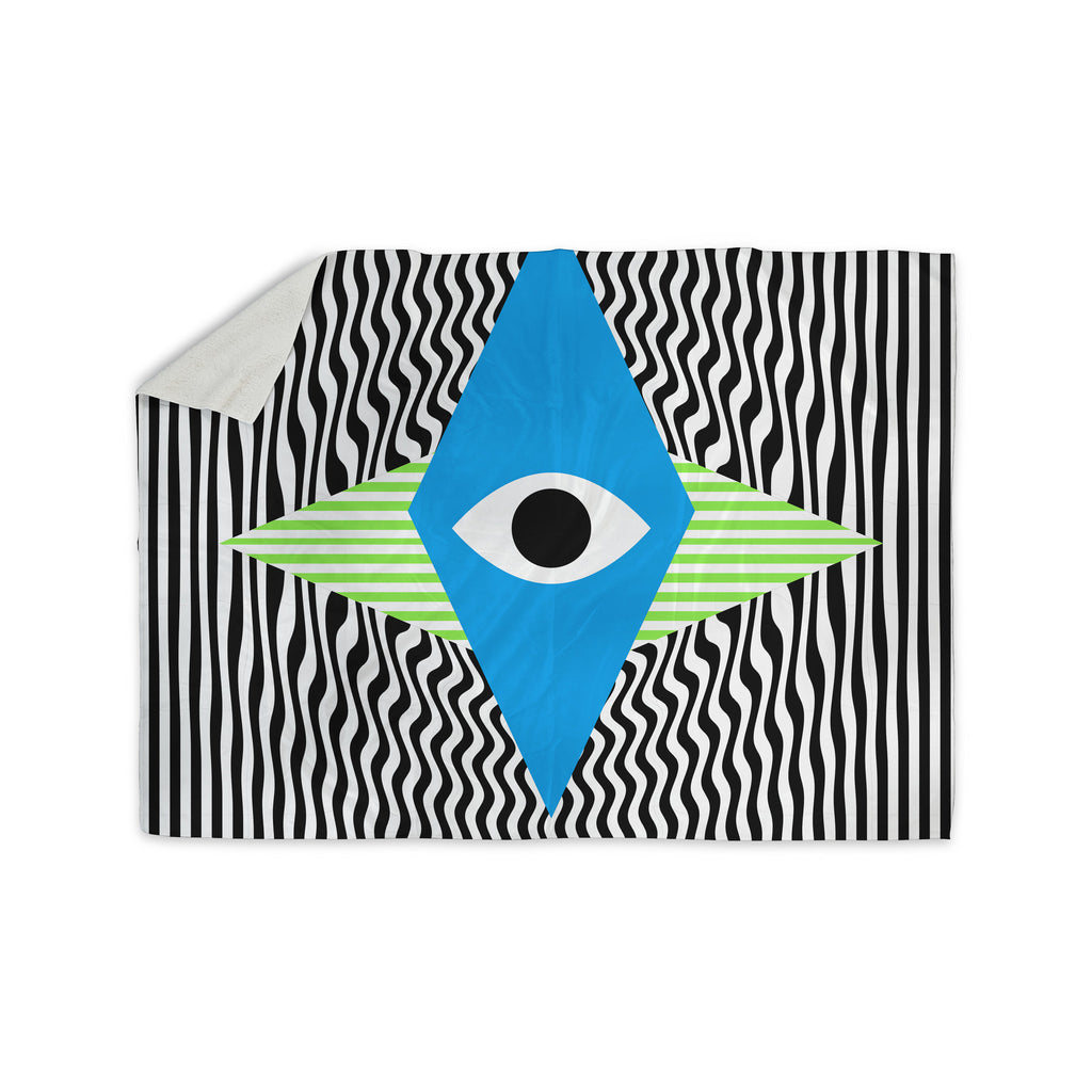 "Vasare Nar ""Eye Optical"" Black Blue Sherpa Blanket - KESS InHouse  - 1"