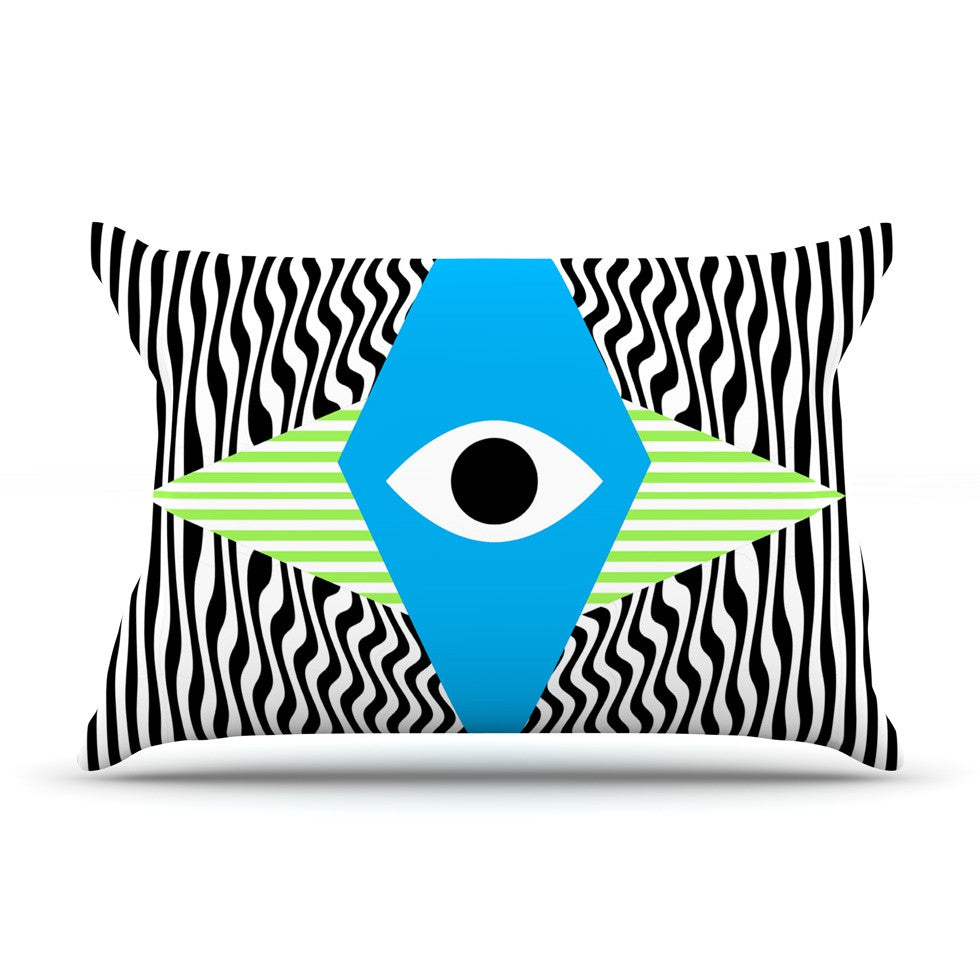 "Vasare Nar ""Eye Optical"" Black Blue Pillow Sham - KESS InHouse"