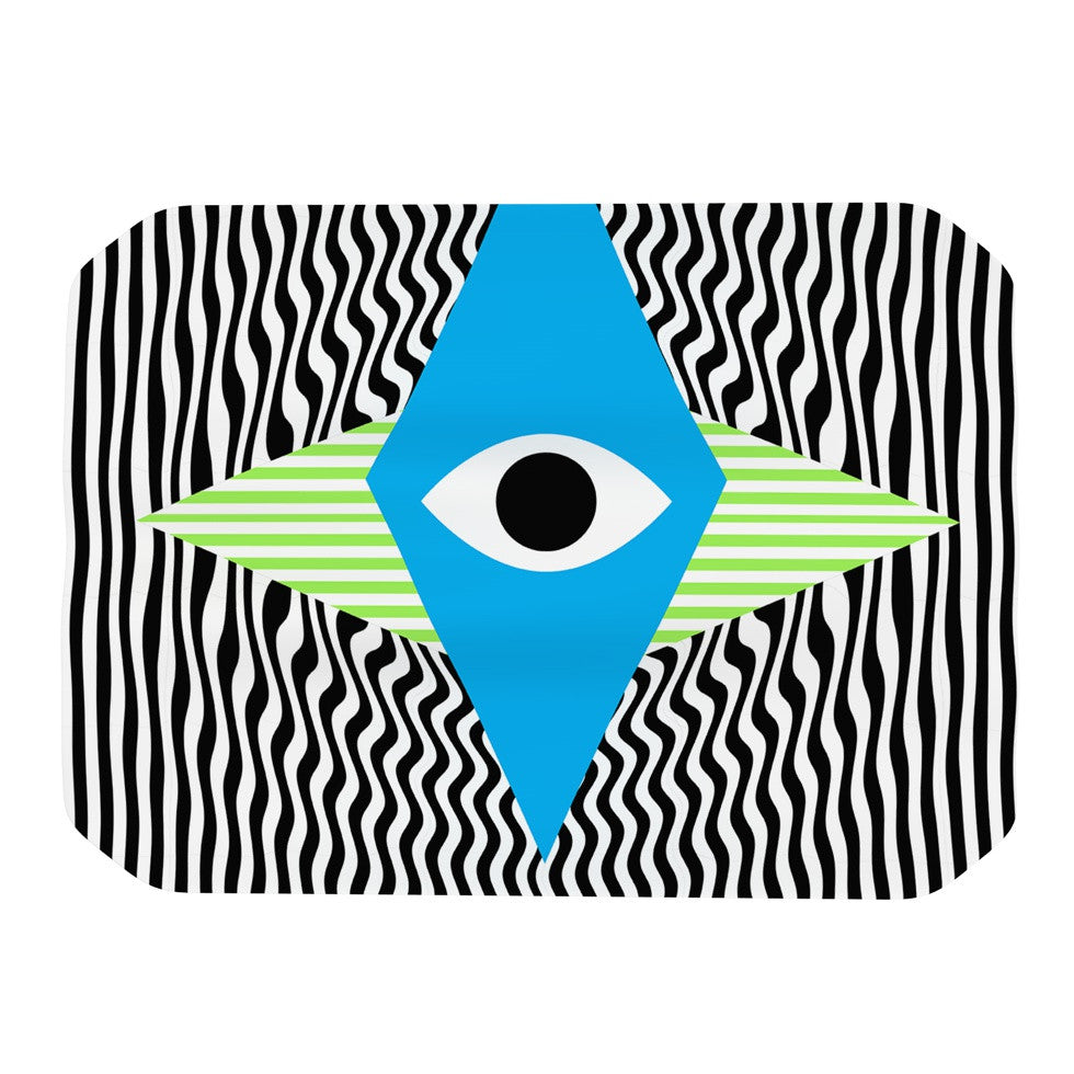 "Vasare Nar ""Eye Optical"" Black Blue Place Mat - KESS InHouse"