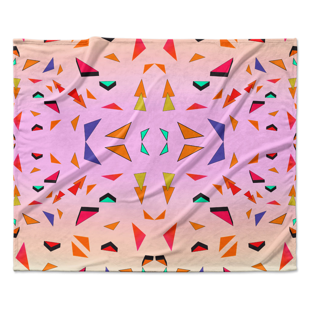 "Vasare Nar ""Candy Land Tropical"" Pink Geometric Fleece Throw Blanket"