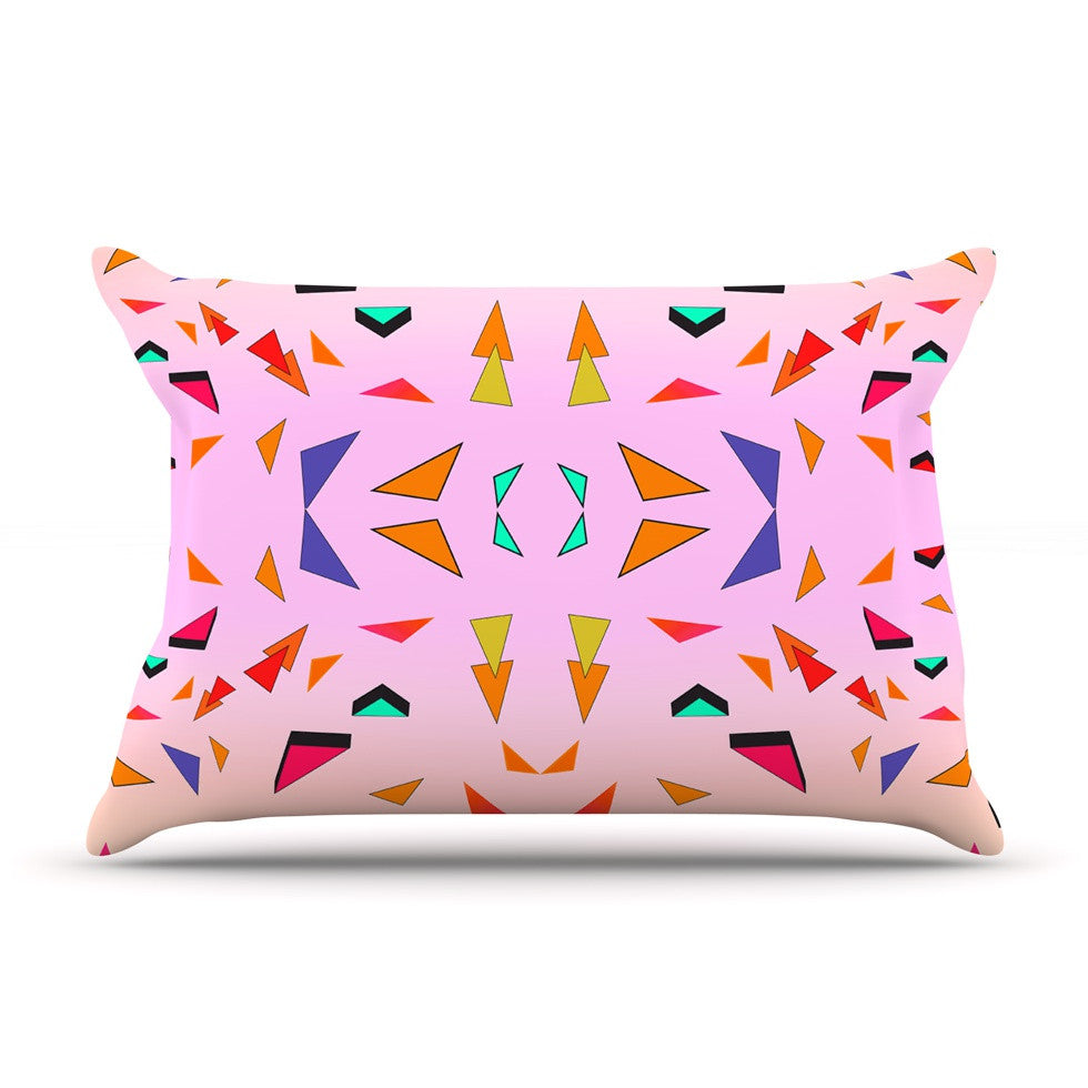 "Vasare Nar ""Candy Land Tropical"" Pink Geometric Pillow Sham - KESS InHouse"