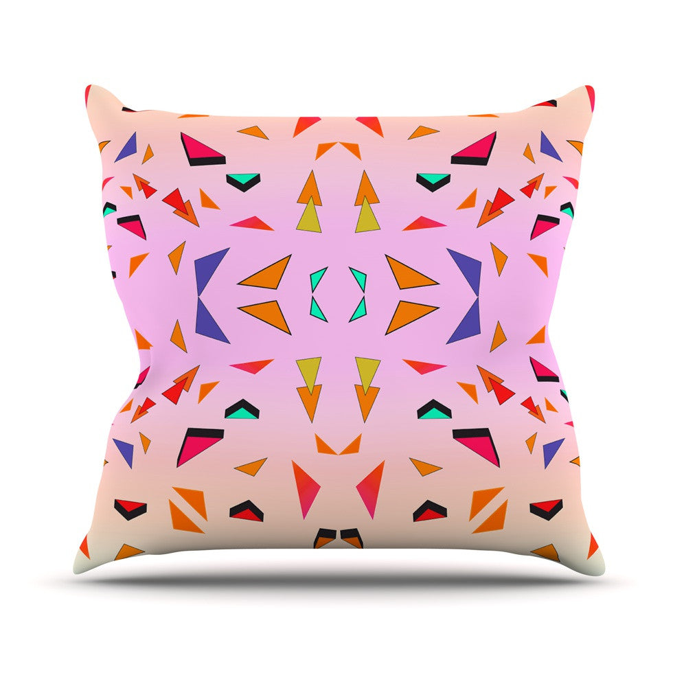 "Vasare Nar ""Candy Land Tropical"" Pink Geometric Outdoor Throw Pillow - KESS InHouse  - 1"