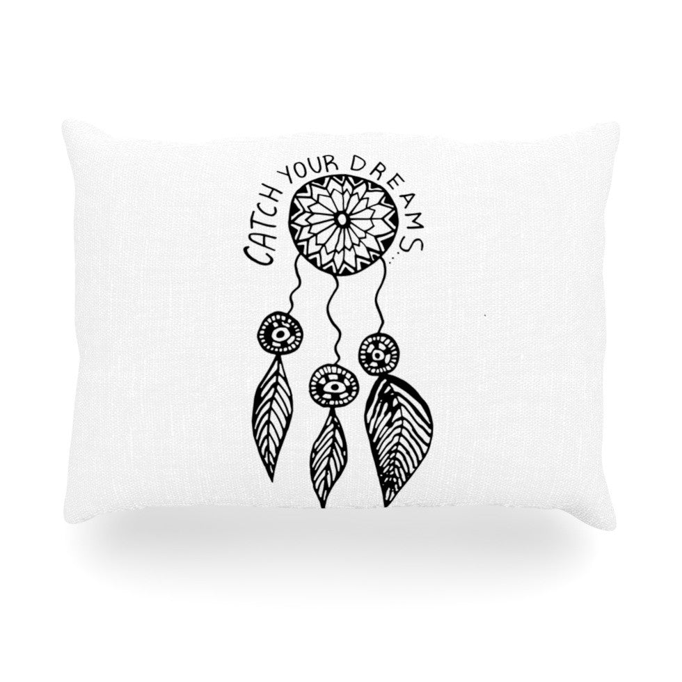 "Vasare Nar ""Catch Your Dreams"" Typography Illustration Oblong Pillow - KESS InHouse"