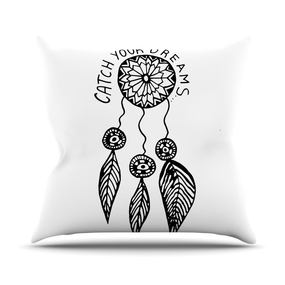"Vasare Nar ""Catch Your Dreams"" Typography Illustration Outdoor Throw Pillow - KESS InHouse  - 1"