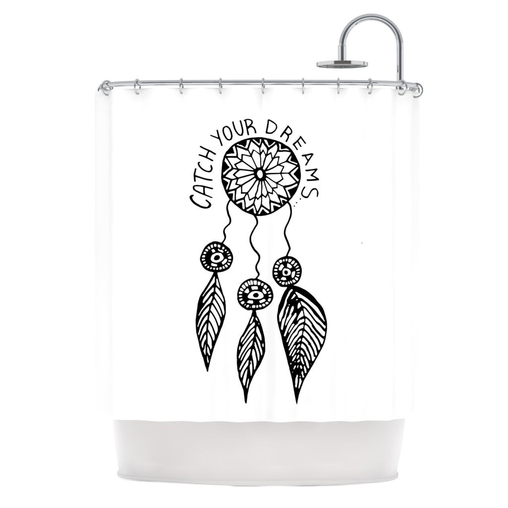"Vasare Nar ""Catch Your Dreams"" Typography Illustration Shower Curtain - KESS InHouse"